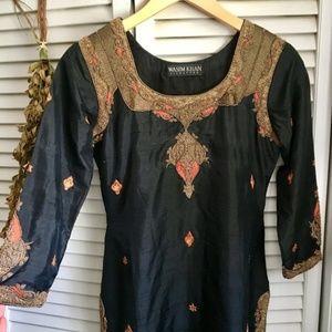 {Wasim Khan} Indian Bohemian Embroidered Dress, S